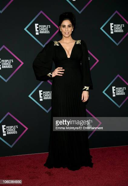 Actorcomedian Sarah Silverman poses in the press room during the 2018 E People's Choice Awards held at the Barker Hangar on November 11 2018...