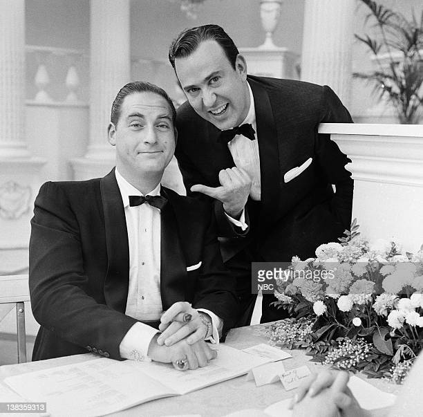Actor/Comedian Sid Caesar actor/comedian/writer Carl Reiner at the 9th Annual Primetime Emmy Awards on March 16 1957 held at the Colonial Theatre in...