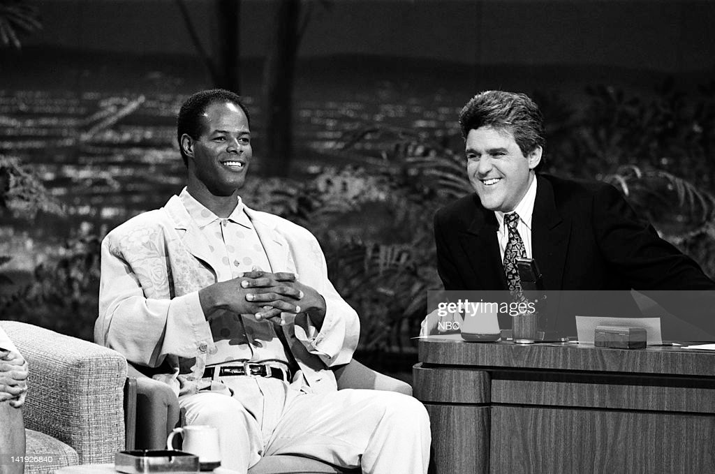 Actor/comedian/director Keenen Ivory Wayans, guest host Jay Leno on May 8, 1990 --