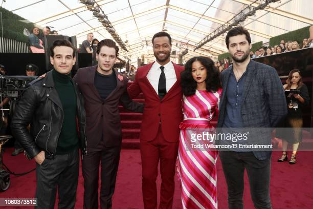 Actors Alberto Rosende Dominic Sherwood Isaiah Mustafa Alisha Wainwright and Matthew Daddario arrive to the 2018 E People's Choice Awards held at the...