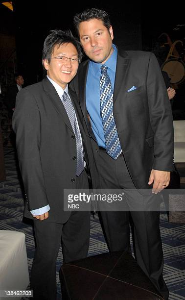Actors Masi Oka and Greg Grunberg of Heroes mingle in the green room at the 2007 NBC Upfront event on May 14 2007