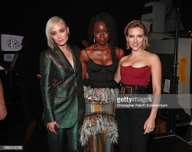 Actors Pom Klementieff Danai Gurira and Scarlett Johansson pose during the 2018 E People's Choice Awards held at the Barker Hangar on November 11...
