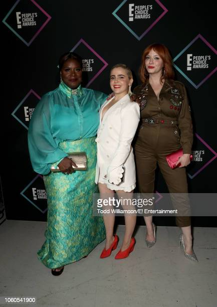 Actors Retta Mae Whitman and Christina Hendricks pose backstage during the 2018 E People's Choice Awards held at the Barker Hangar on November 11...