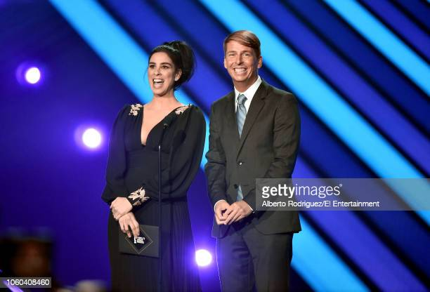 Actors Sarah Silverman and Jack McBrayer speak on stage during the 2018 E People's Choice Awards held at the Barker Hangar on November 11 2018...