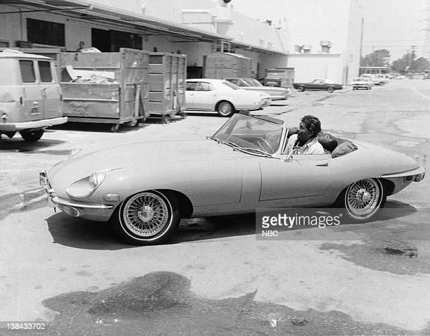 Actor/singer Dean Martin arrives at NBC Studios in Burbank CA in a c1968 Jaguar XKE Convertible