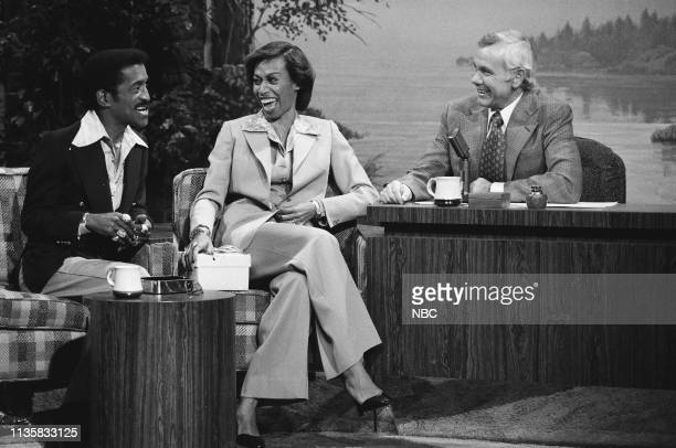 Actor/Singer Sammy Davis Jr and entertainer Altovise Davis during an interview with host Johnny Carson on June 10 1977