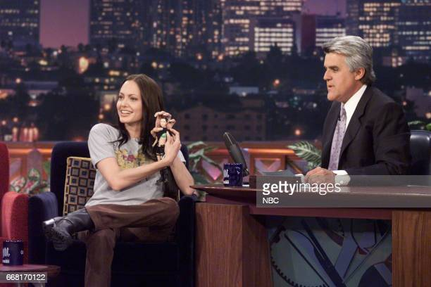 Actress Angelina Jolie during an intrview with Host Jay Leno on June 19th 2001