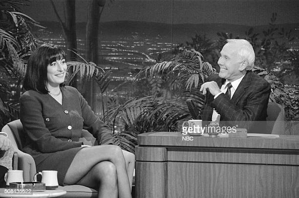 Actress Anjelica Huston during an interview with host Johnny Carson on December 6 1991