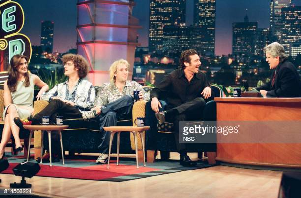 Actress Brooke Shields comedians Trey Parker and Matt Stone and actor Michael T Weiss during an interview with host Jay Leno on May 15 1998