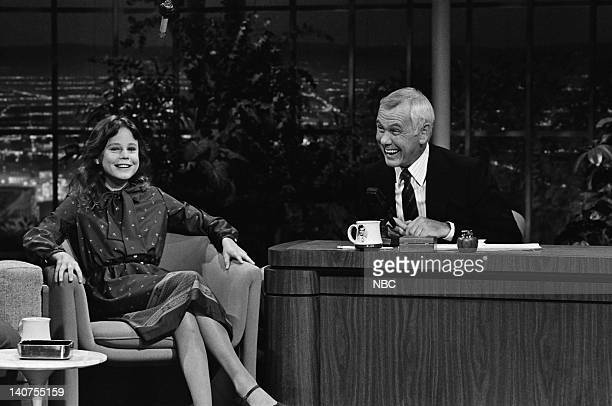 Actress Dana Hill host Johnny Carson on June 10 1982 Photo by Gary Null/NBC/NBCU Photo Bank