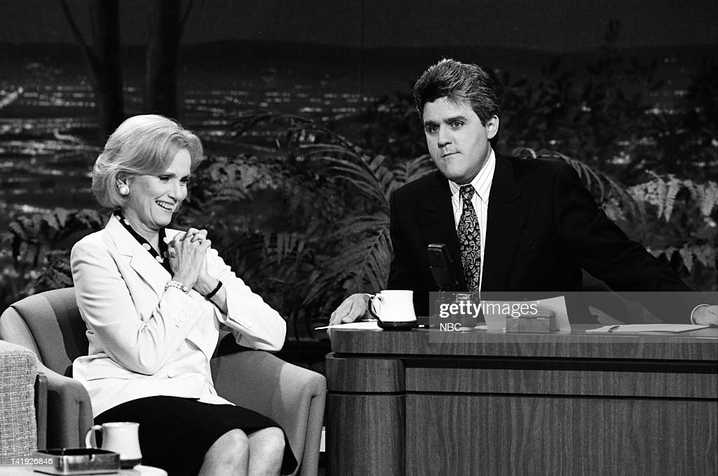 Actress Eva Marie Saint, guest host Jay Leno on May 8, 1990 --