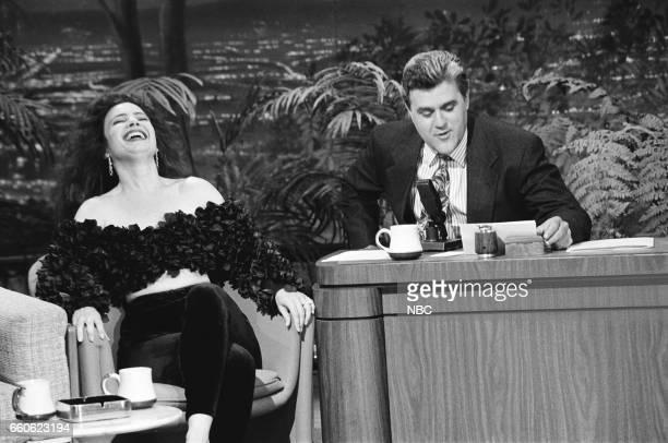 Actress Fran Drescher during an interview with guest host Jay Leno on June 21 1991