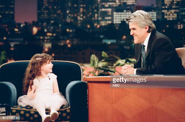 Actress Hallie Eisenberg during an interview with host Jay Leno on April 6 1998