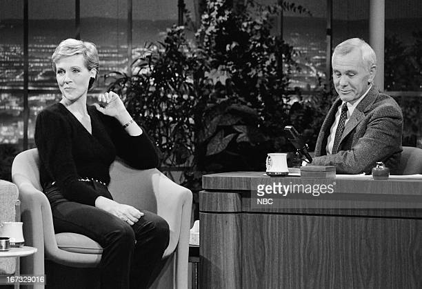 Actress Julie Andrews host Johnny Carson on November 19 1982