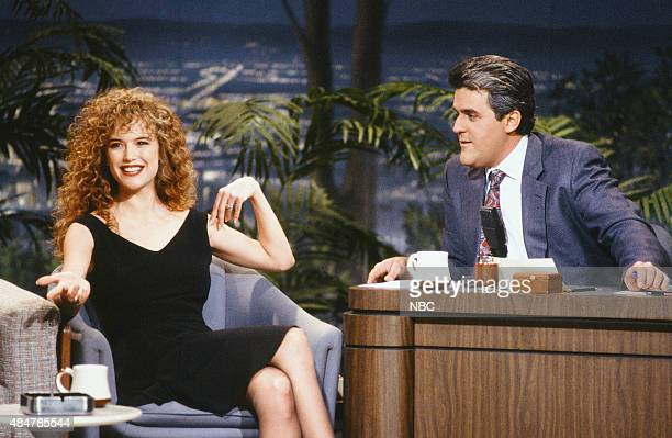 Actress Kelly Preston during an interview with guest host Jay Leno on January 29 1991