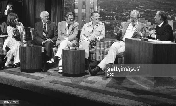 Pictured: Actress Lee Grant, Actor James Pierce, Swimmer Johnny Weissmuller, Swimmer Buster Crabbe and Actor Jock Mahoney during an interview with...