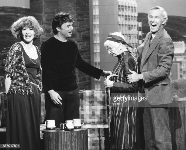 Actress Lee Grant and Actor Robert Blake greeting Photographer Imogene Cunningham and Host Johnny Carson on April 7th 1976