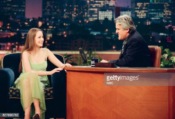 Actress Lee Lee Sobieski during an interview with host Jay Leno on April 7 1999