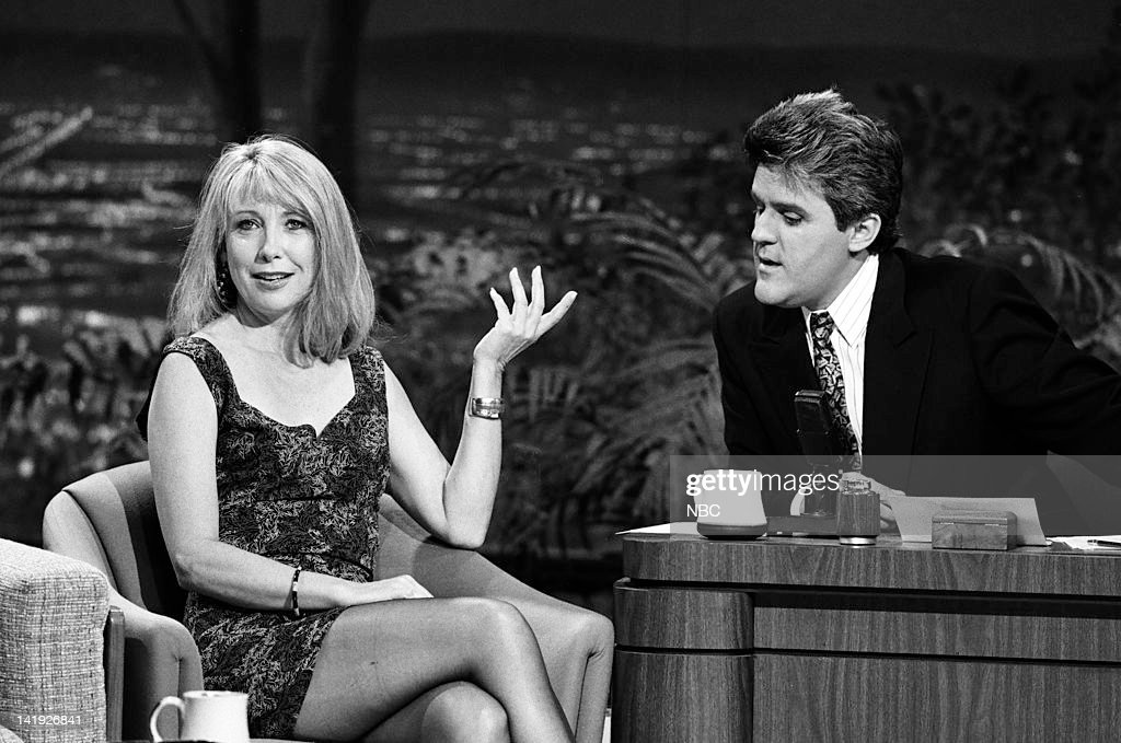 Actress Teri Garr, guest host Jay Leno on May 8, 1990 --