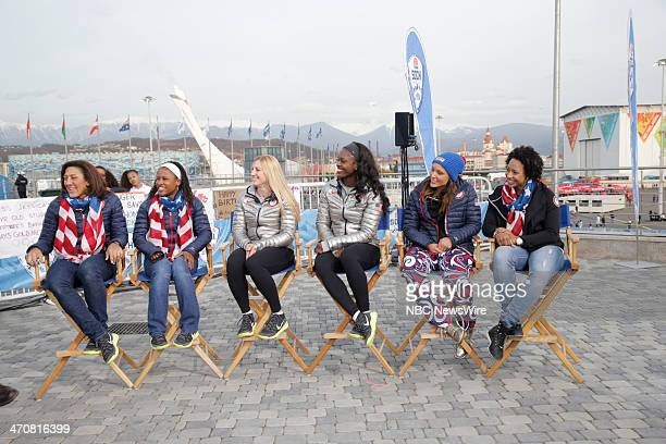 Alana Meyers Lauryn Williams Jamie Greubel Aja Evans Lolo Jones Jazmine Fenlator from the 2014 Olympics in Socci