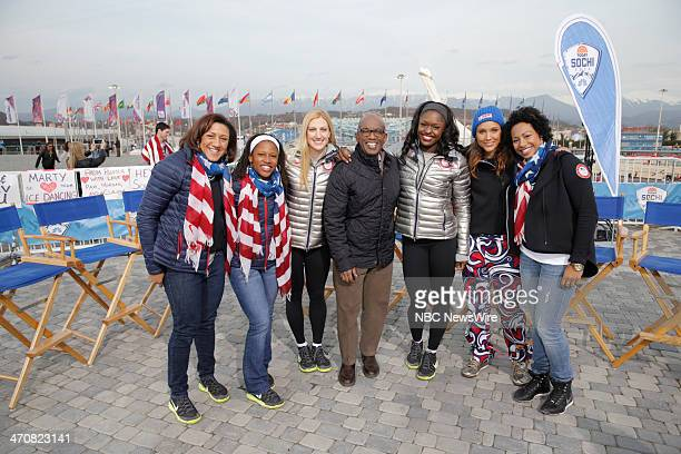 Alana Meyers Lauryn Williams Jamie Greubel Al Roker Aja Evans Lolo Jones Jazmine Fenlator from the 2014 Olympics in Socci