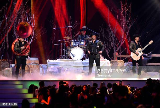 Pictured: Alejandro Gaxiola, Erick Garcia, Eden Munoz and Armando Ramos of Calibre 50 perform on stage at the Mandalay Bay Resort and Casino in Las...