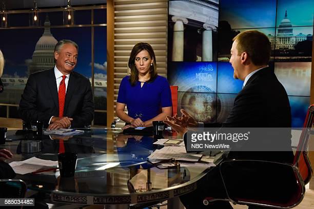 Alex Castellanos Republican Strategist Hallie Jackson NBC News Correspondent and moderator Chuck Todd appear on Meet the Press in Washington DC...