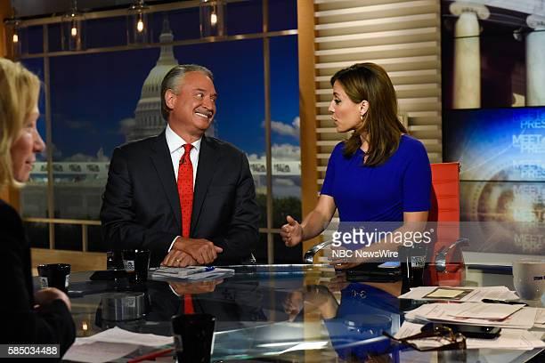 Alex Castellanos Republican Strategist left and Hallie Jackson NBC News Correspondent right appear on Meet the Press in Washington DC Sunday July 31...
