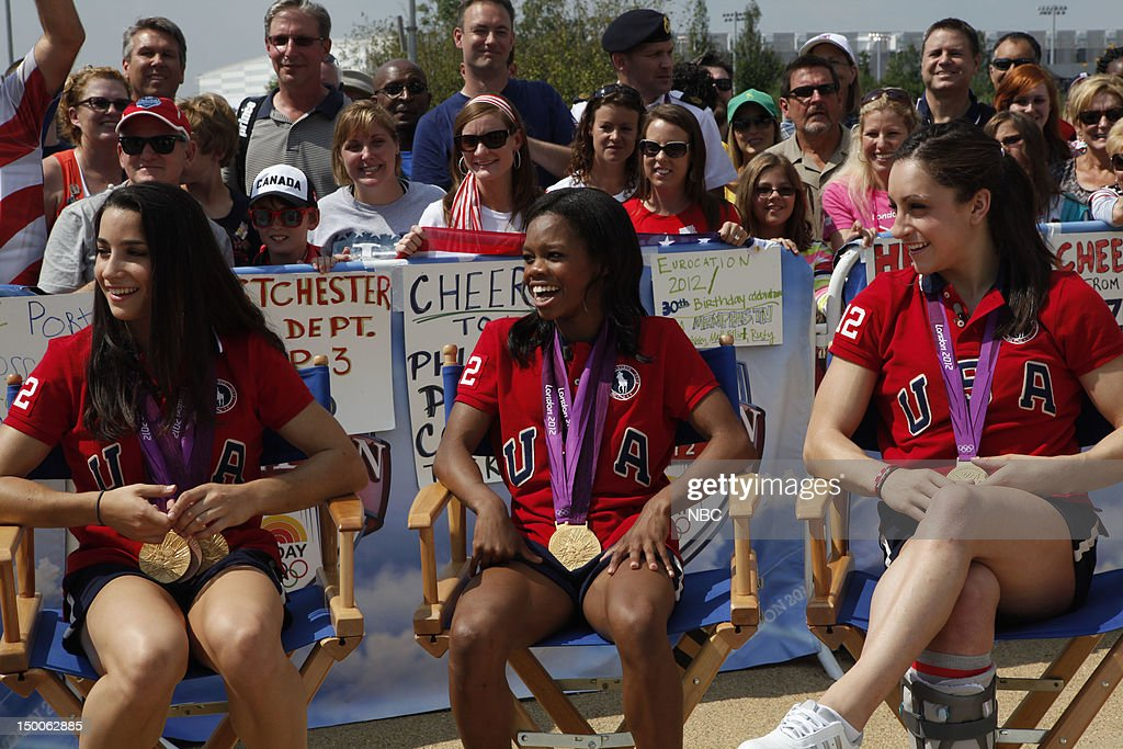 Aly Raisman, Gabby Douglas, Jordyn Wieber on August 9, 2012 --