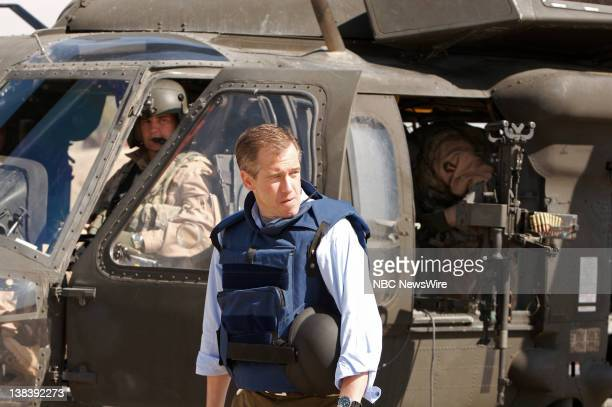 Anchor and Managing Editor Brian Williams of 'NBC Nightly News' with American military reports from Camp Liberty in Baghdad Iraq on March 8 2007