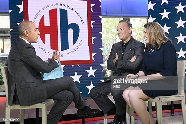 Anchor Matt Lauer with Tom Hanks and Elizabeth Dole on Tuesday, September 27, 2016 --