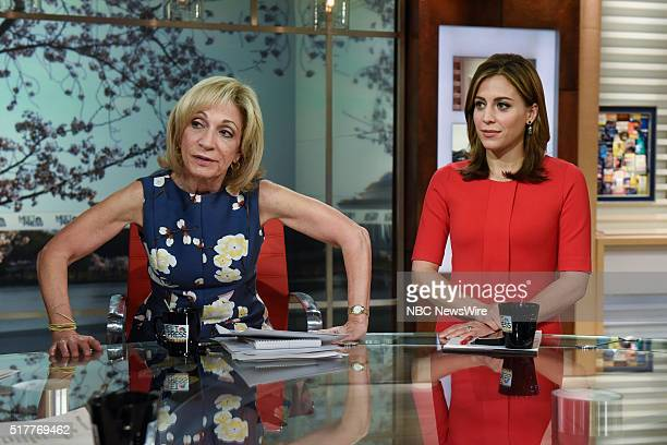 Andrea Mitchell NBC News Chief Foreign Affairs Correspondent left and Hallie Jackson NBC News Correspondent right appear on Meet the Press in...