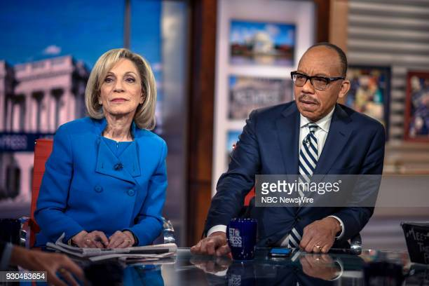 Andrea Mitchell NBC News Chief Foreign Affairs Correspondent and Eugene Robinson Columnist The Washington Post appear on 'Meet the Press' in...