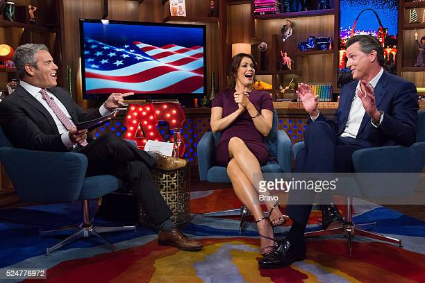 Andy Cohen Bellamy Young and Gavin Newsom