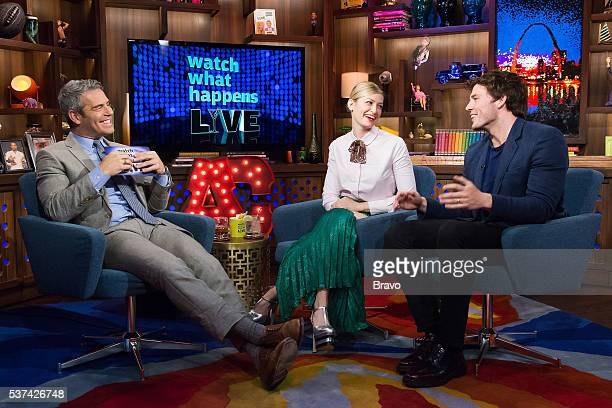 Andy Cohen Beth Behrs and Sam Claflin