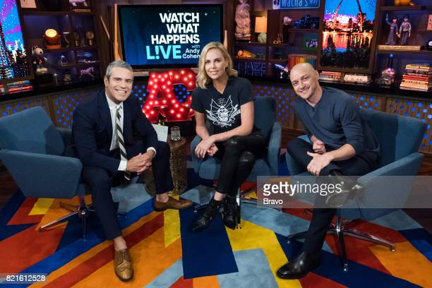 Andy Cohen Charlize Theron and James McAvoy