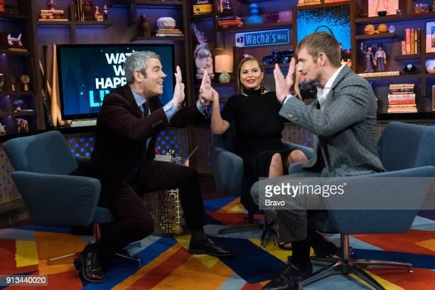 Andy Cohen Chrissy Teigen and Joel Kinnaman