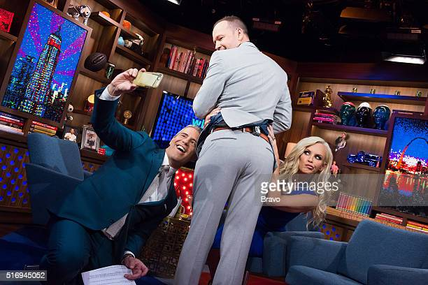 Andy Cohen Donnie Wahlberg and Jenny McCarthy