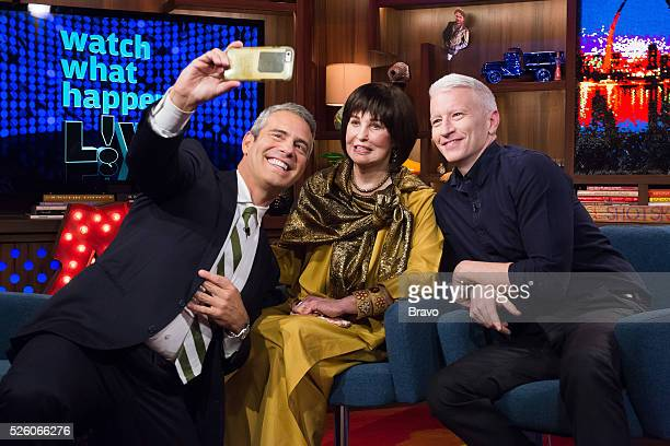 Andy Cohen Gloria Vanderbilt and Anderson Cooper