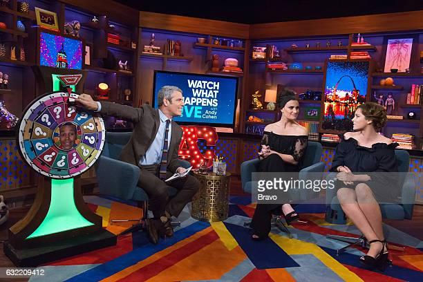 Andy Cohen Idina Menzel and Rachel Bloom