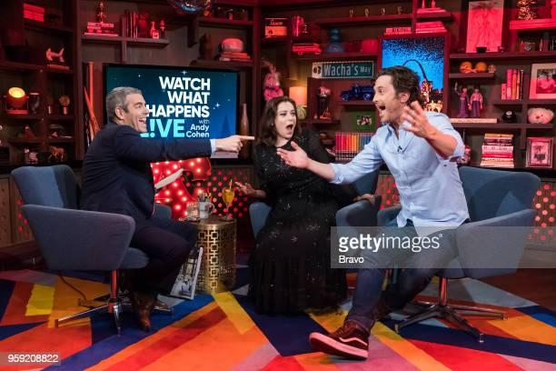 Andy Cohen Rachel Bloom and Oliver Hudson