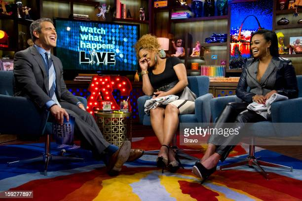 Andy Cohen Tionne 'TBoz' Watkins and Tatyana Ali Photo by Charles Sykes/Bravo/NBCU Photo Bank via Getty Images