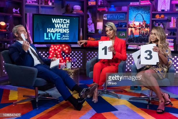 Andy Cohen Vivica A Fox and Mariah Huq