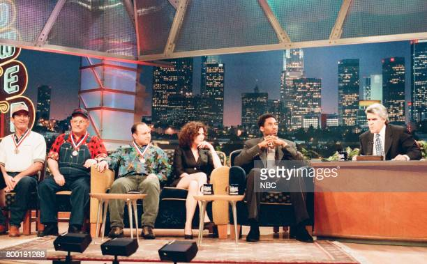 Animal impressionist contestants actress Kim Delaney and basketball player Kobe Bryant during an interview with host Jay Leno on February 12 1998