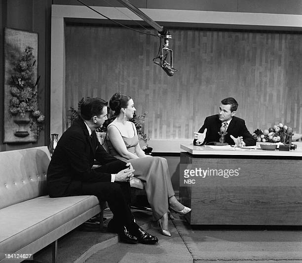 Announcer Ed McMahon actress/singer Patricia Morison host Johnny Carson on December 6 1962