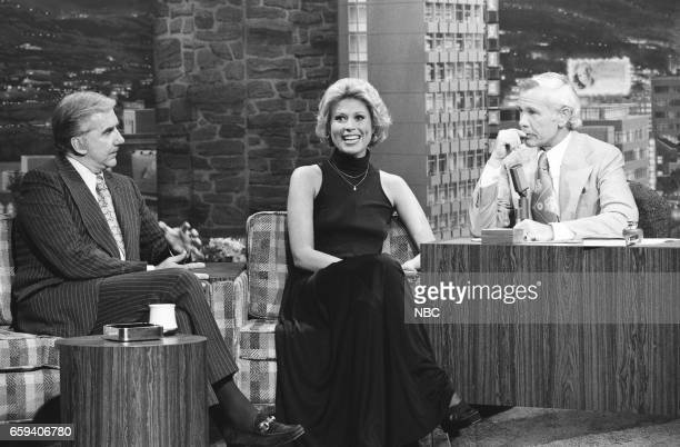 Announcer Ed McMahon and Actress Leslie Easterbrook during an interview with Host Johnny Carson on May 19th 1976