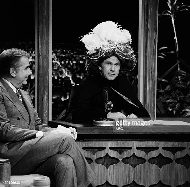 Announcer Ed McMahon and host Johnny Carson as Carnac the Magnificent on November 17 1970