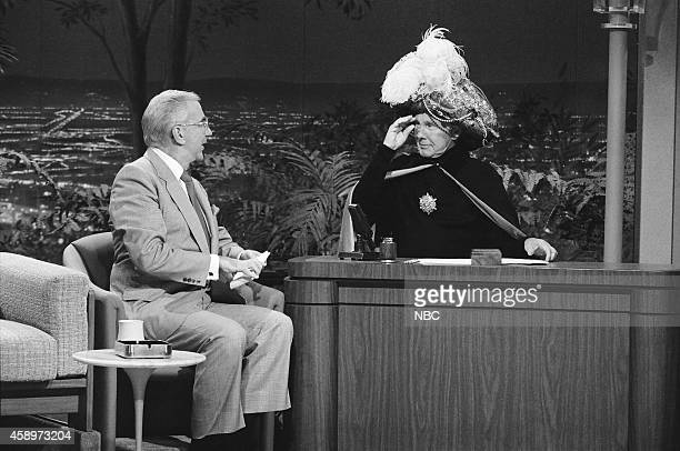 Announcer Ed McMahon and host Johnny Carson as Carnac the Magnificent on May 9 1990