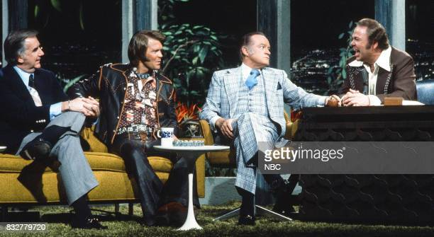 Announcer Ed McMahon Musician Glen Campbell and Comedian Bob Hope during an interview with Guest host Ray Clark on February 10th 1975
