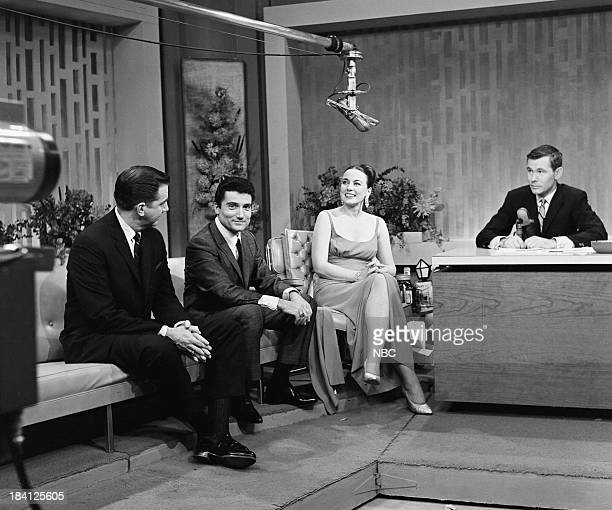 Announcer Ed McMahon unknown actress/singer Patricia Morison host Johnny Carson on December 6 1962